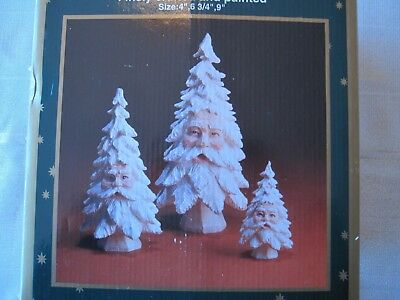 New !!!  3 Piece Set Of Sculpted Christmas Table Trees By Roman Inc.