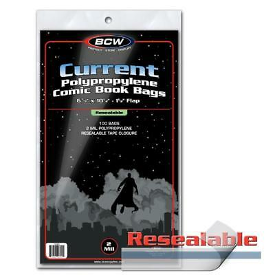 Bcw Current 2 Mil Poly Resealable W/ Flap Comic Book Bags 100 Pack Brand New
