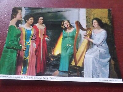 1964 John Hinde Postcard Traditional Irish Singers with Harpist Bunratty Castle