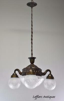 Antique 3 Arm 4 Light Brass With Cut Glass Frosted Shades Chandelier