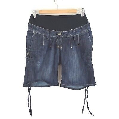 H&M Maternity Denim Shorts Sz Small 3/4 Length Cute Tie Detail Rib Dark Jeans