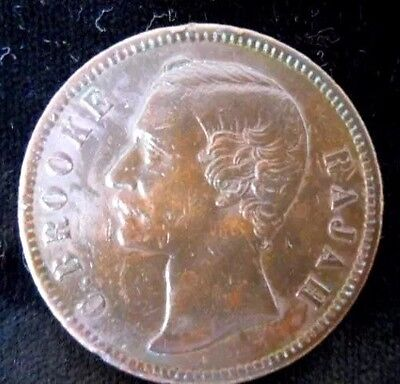 1879 Sarawak One Cent, Circulated Beautiful Toning and Red Brown Color POP 1