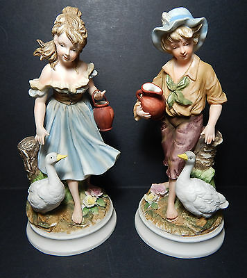 """Andrea By Sadek """"Water Bearer"""" Boy & Girl With Geese Large Figurines #8861"""