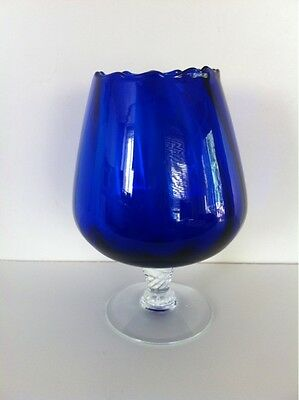 Vintage Cobalt Blue Glass Goblet with Clear Glass Twisted Foot 6.5''