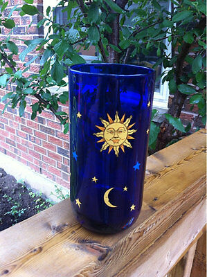 Vintage Libbey Cobalt Blue Glass Drinking Glass Tumbler Moon Sun Stars