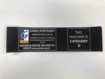 Fruit Machine, Gaming Sticker, Cat D with GamCare, law (10 Pack)
