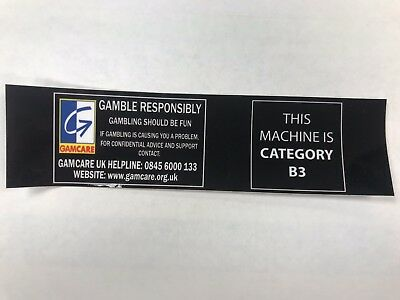 Fruit Machine, Gaming Sticker, Cat B3 with GamCare, law (10 Pack)