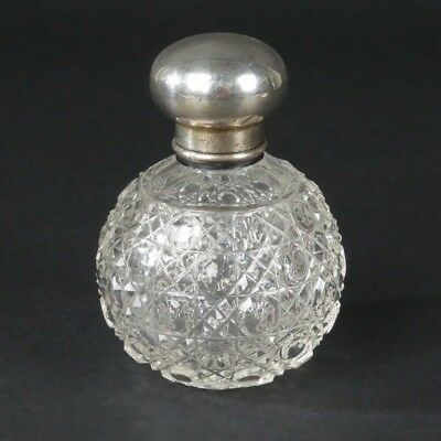 Antique vanity bottle perfume cut glass sterling silver British Chester 1912
