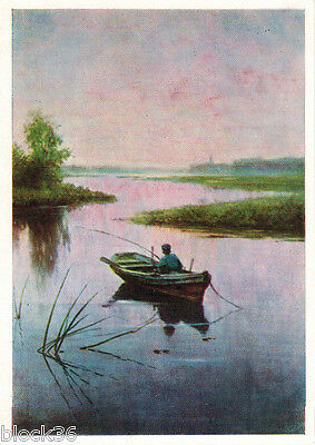 1963 Russian postcard reproduction of painting FISHERMAN by Efim Volkov