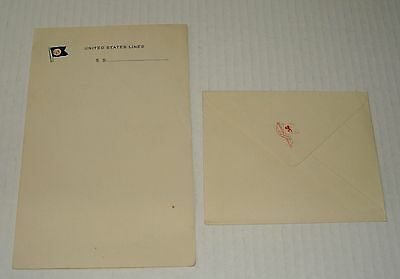 Orig S.s. United States Lines Ship's Stationery & Envelope Unused 01