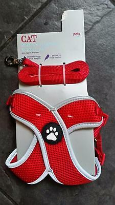 Pets At Home Cat Step In Harness/lead Set In Red (Brand New)