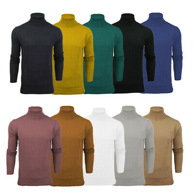 Mens Roll Funnel Neck Polo Cotton Knitwear Jumper Sweater Base Layer Brave Soul