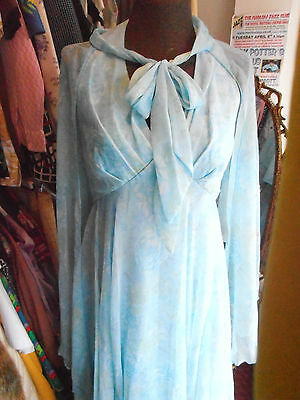 Vintage 1970s Floaty Floral Evening Dress with Cape UK 10 ?