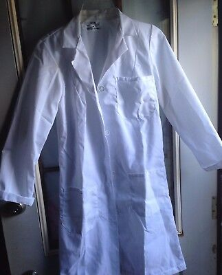 "NWT Dickies Medical Scrubs Gen Flex White Utility Lab Coat 28"" Sz XS"