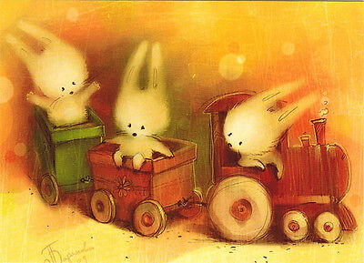 BUNNIES ON A TRAIN MODERN Russian postcard