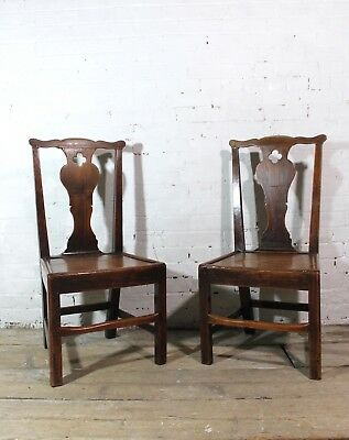 A good pair of George III elm side chairs of excellent colour  Georgian
