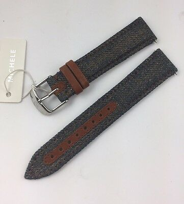 New Old Stock  Michele DECO CSX Brown Denim  Watch Band 18 mm $100