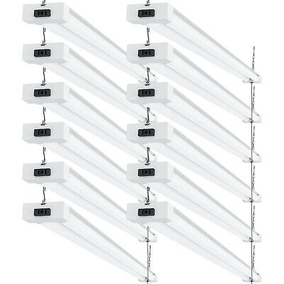 Sunco 12 Pack Frosted LED Utility Shop Light 40W (260W) 5000K Daylight 4100 lm