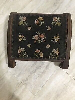 Antique Foot Rest. Needlepoint Top. Great Condition!