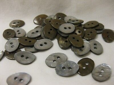 """Antique Vintage Buttons Silvery/Brown Mother of Pearl Shell lot of 75 5/8"""""""