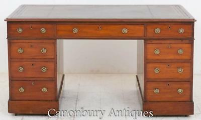 Antique Victorian Pedestal Desk Bureau in Mahogany