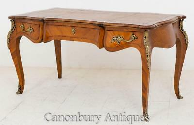 French Empire Walnut Bureau Plat Desk Writing Table 1860
