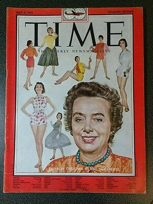 Vintage Time magazine. May 2, 1955. CLAIRE McCARDELL. Fashion Designer.
