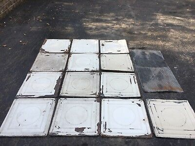 Metal ceiling tile lot Antique Salvage Original Victorian 14 Tiles Rare Art Deco