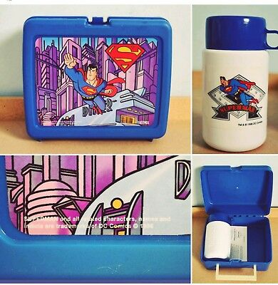 Thermos Superman Plastic LUNCH BOX with WIPES and Thermos Unused 1996 DC Comics