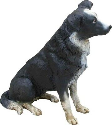 Dog Border Collie Black White Resin Statue Sitting Display Decor Prop