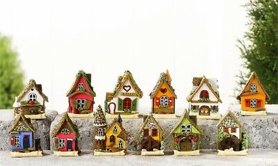 "2.8"" My Fairy Gardens Tiny Micro Mini Village Houses - Set of 12 Resin Figurines"