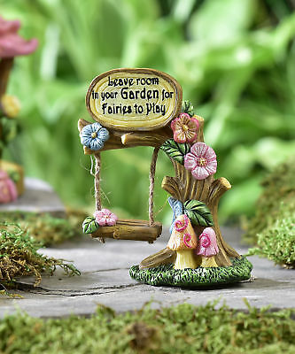 Miniature Dollhouse FAIRY GARDEN - Fairy Play Tree Swing - Accessories