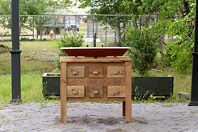 "Reclaimed Wood 36"" Bath Vanity Trough Sink Single Apothecary Chest Bath Package"