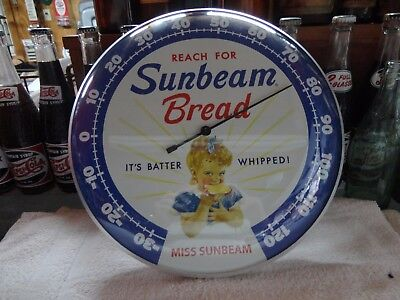 "Sunbeam Bread Thermometer 12"" Round Licensed Glass Lens Aluminum Body"