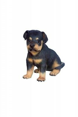 Dog Rottweiler Puppy Sitting Black Tan Resin Statue Display Prop