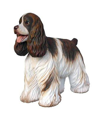 Dog Cocker English Springer Spaniel Resin Statue Brown White Display prop
