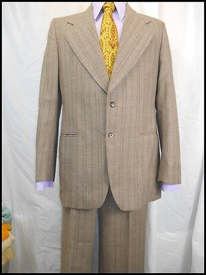 Vintage 70s 2-Piece Myer Brown Striped Wool Blend Suit 38 Chest 33W Anchorman