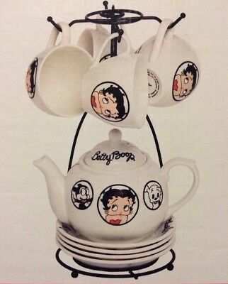 Betty Boop Tea Set And Stand For Four Cups And Saucers Teapot Lid Stand