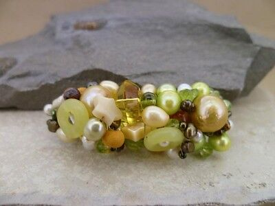 Ready made hair jewellery barrette in mixed pearls & gemstones in autumn tones