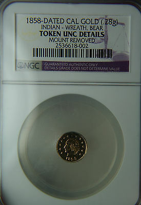 1858 California Gold Fractional Token Indian Wreath with Bear NGC Unc Details