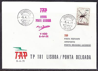Portugal 1971 TAP  Airways TP 181  Lisbon to Ponto Delgada  Flight Cover