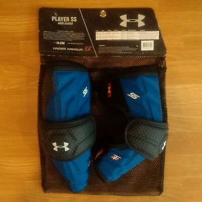 UNDER ARMOUR Player SS Arm Guards - Royal - Large - NEW