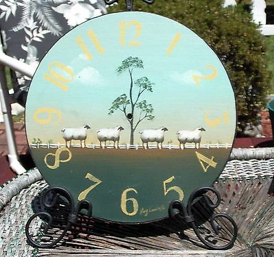 Country Farm Primitive Clock Face Sheep Folk Art Wood Black Metal Scroll 16""