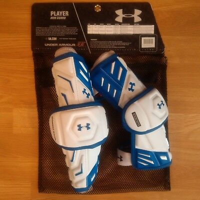 UNDER ARMOUR Player Arm Guards - White/Royal - Medium - NEW