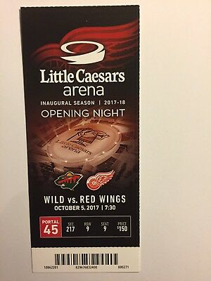 Detroit Red Wings Vs Minnesota Wild Opening Night October 5, 2017 Ticket Stub