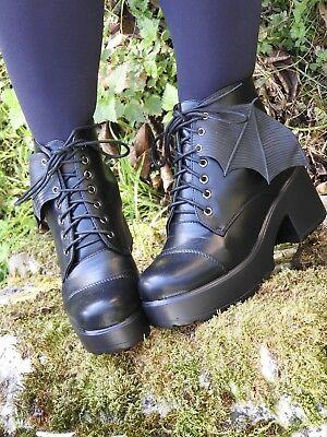 Pair Of Black Bat Wings For Laced Shoes Heels Boots Goth Gothic Halloween 🦇