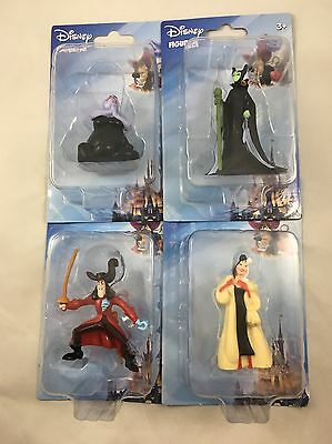 "Disney Villains Figurines NIP 3"" Cake Topper Toy Ursula Hook Cruella Maleficent"