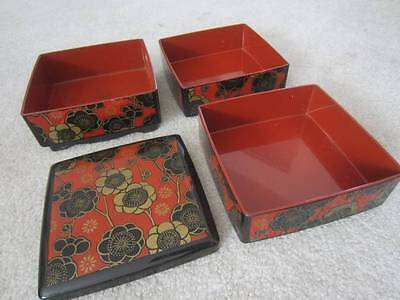 Vintage Jewelry Trinket Organizer Box 3 Layers Stackable Hand Painted Laquer