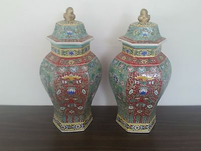 Lovely Pair-17 Inch Hexagonal Chinese Covered Vase-Lids-Red & Green-Floral Motif