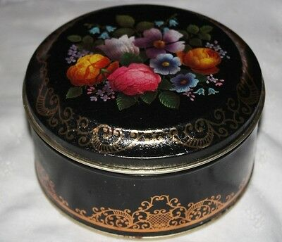 Pretty VTG England Toleware Flowers Round Tin Container Box Black Background